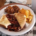 My wife had pulled pork w no bun, 2 sides, & Texas Toast. She took a bite before I thought of a
