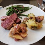 Duck breast, chutney, potatoes crisped in duck fat, green beans