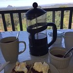 Devonshire tea overlooking the Glasshouse Mountains