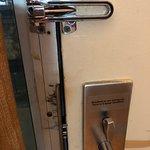 Bolt does not work. Clear open space between door and door frame. I did not feel safe.