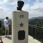 The monument to James Dean and the view of the Hollywood sign.