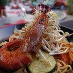 Wok crevettes