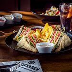 Chicken Club Sandwich Served with French fries!!!