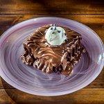 Moist chocolate pie with homemade vanilla ice cream!!!