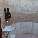 Basic bathroom, open sky shower