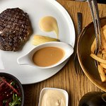 Steak frites, the house sauce was very good.