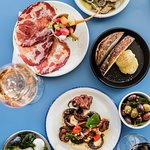 Snacks in the bar; house cured coppa, baby occy, oysters, olives, bread & dripping