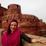 Hi Greeting From Taj Mahal Tour Guide Family Group This is our client Miss Alexa in Agra Fort.