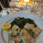 Swordfish Scaloppine Piccata with sauteed spinach
