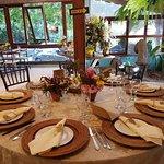 Área de café da manhã decorado para festa de casamento