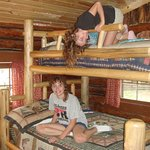 Log bunk beds for the kids to enjoy!