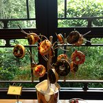 Breakfast buffet donut tree, also has some food for kids.