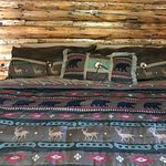 """King size bed in the """"Love Dove"""" cabin"""