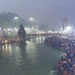 People gathering for the ganga arati