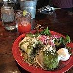 Banfflo burrito and strawberry and banana margarita