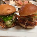 Bahn Mi Sliders with pork belly, foie gras, and pickled vegetables. So incredibly delicious!