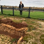 Our fantastic host Kath with the soil profile at Katnook winery, Coonawarra.