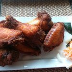 chicken wings with cole slaw & vinegrette