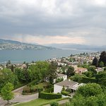 Looking southeast from our balcony at beautiful Lake Zurich and surroundings.