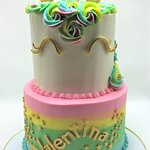 2 Tier Rainbow Unicorn Birthday Cake with Gold Accents by Flavor Cupcakery