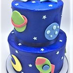 2 Tier Space Themed Boy Baby Shower Cake by Flavor Cupcakery