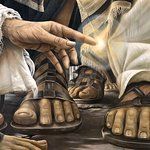 close up of painting of woman touching Jesus' robe to be healed in lower level of Duc In Altum