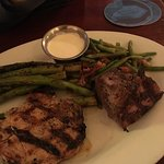 Cabin combo - steak and pork chop (asparagus instead of potato)