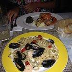 Spaguetti con frutos de mar.