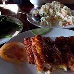 Fried fish, fried rice, fried morning glory