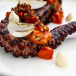 Charred octopus, red pepper kochujan, quinoa