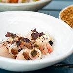 King fish sashimi, smoked garlic, yuzu soy