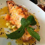 Grilled Salmon Fillet with Fruit, Lime and Orange Sauce