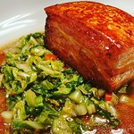 Pork belly with braised spring cabbage