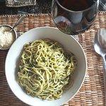 Home-made spaghetti in pesto sauce