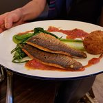 Grilled Sea Bass with Crab Croquette.