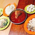 Chicken rice, vege and asam fish