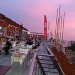The terrace of La Pepa foodmarket is to enjoy the food and wine.