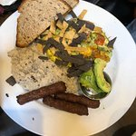 Spanish omelet with black bean grits