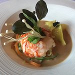 Butter poached lobster with shumai and Asian broth