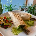 This week's special - sauteed rainbow chard & spinach,grilled asparagus & basil pumpkin pesto wr