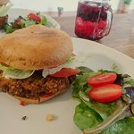 Thai spiced sweet potato burger with sweet chilli sauce and mango salsa