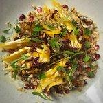 Orange & saffron braised fennel, quinoa & pine nut salad, tahini dressing