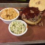 Pork Sandwich, mac and cheese and slaw