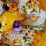 Red Snapper Tiradito (gf) yuzu, ponzu, aioli leche de tigre