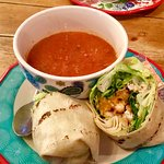 Mandarin chicken wrap/ tomato soup
