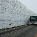 Snow wall on a foggy day