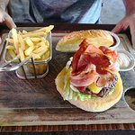 Yummy burger at Tamarind Restaurant in Puerto Galera