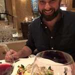 Tasty halibut, but no accompaniments until later, still smiling though