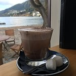 A corner with a view. Loved the soup of the day - Seafood chowder soup. And topped with hot choc