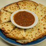 Garlic Cheese Pita Bread with Meat sauce